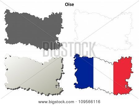 Oise, Picardy outline map set
