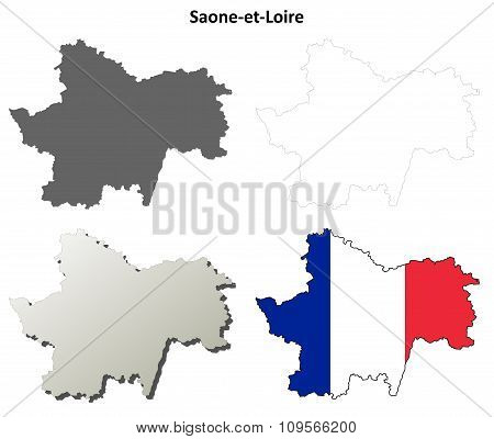 Saone-et-Loire, Burgundy outline map set
