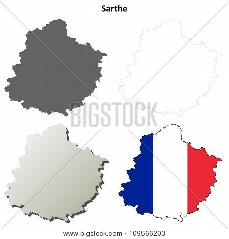 Sarthe, Pays de la Loire outline map set