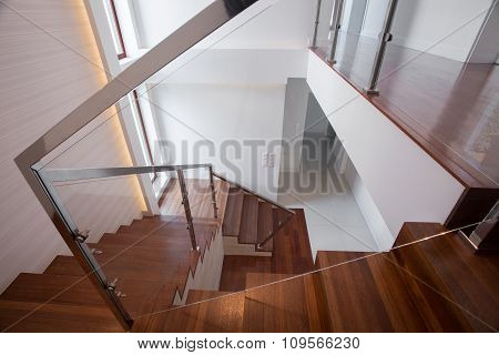 Modern Wooden And Glass Staircase