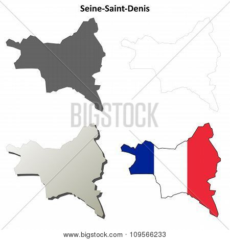 Seine-Saint-Denis, Ile-de-France outline map set