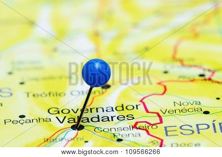 Governador Valadares pinned on a map of Brazil