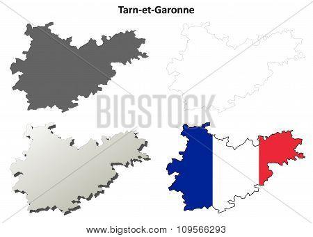 Tarn-et-Garonne, Midi-Pyrenees outline map set