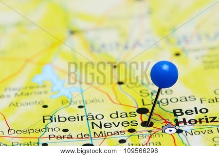 Ribeirao das Neves pinned on a map of Brazil