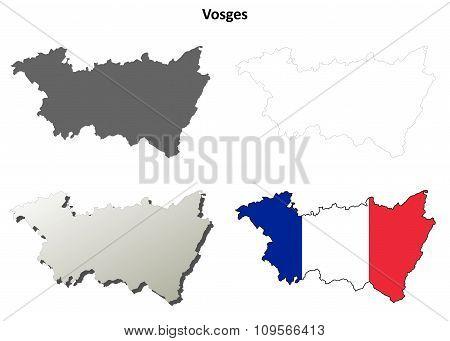 Vienne, Poitou-Charentes outline map set