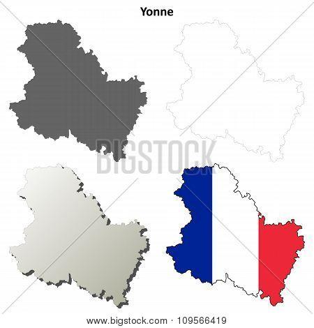 Yonne, Burgundy outline map set