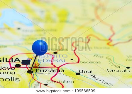 Luziania pinned on a map of Brazil