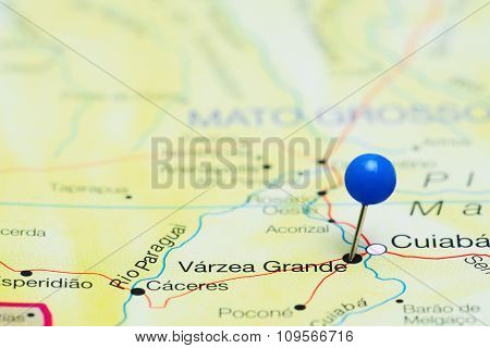 Varzea Grande pinned on a map of Brazil