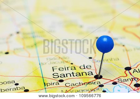 Feira de Santana pinned on a map of Brazil