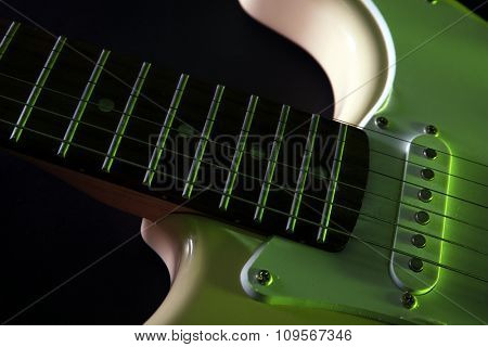 View on part of the electric guitar, close-up