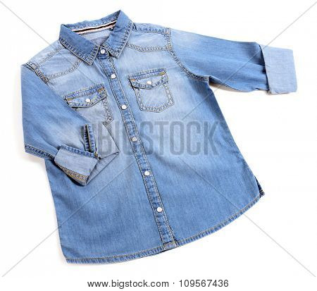 Blue denim shirt isolated on white background