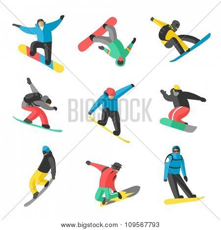 Snowboarder jump in different pose on white background. Snowboard people tricks. Snowboarder tricks. Special snowboard tricks isolated on white. Snowboard tricks vector illustration. Snowboarder