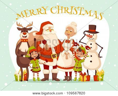 Santa Claus, Missis Claus, kids family vector illustration. Santa Claus, Missis Claus traditional costume. Santa Claus isolated on background. Santa Claus family portrait