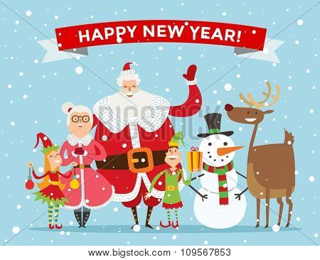 Santa Claus, Missis Claus, kids family vector illustration. Santa Clau, Missis Claus cartoot people. Missis Claus traditional costume. Santa Claus isolated on background. Santa Claus family portrait