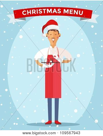 Special Christmas menu cook chef vector illustration. Cook chef holding Christmas menu food special dish. Cook chef male cartoon character in Christmas Santa hat. People job, Chrismas menu