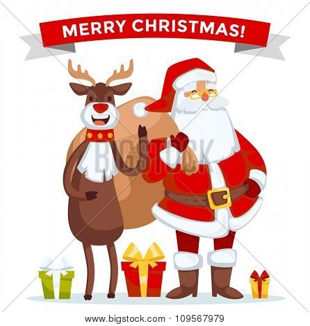 Santa Claus vector illustration. Santa Claus cartoot old man with red hat and sack. Santa Claus traditional costume. Santa Claus isolated on background. Santa Claus stay, smile face. Christmas Santa