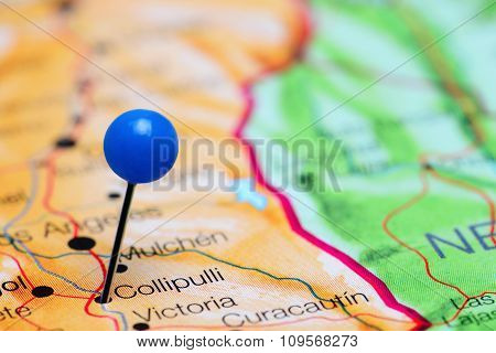 Collipulli pinned on a map of Chile