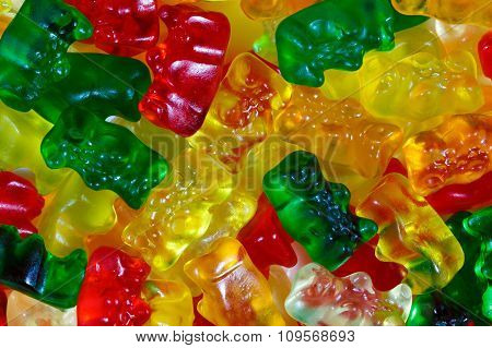 Close Up Of Assorted Multicolored Gummy Bears