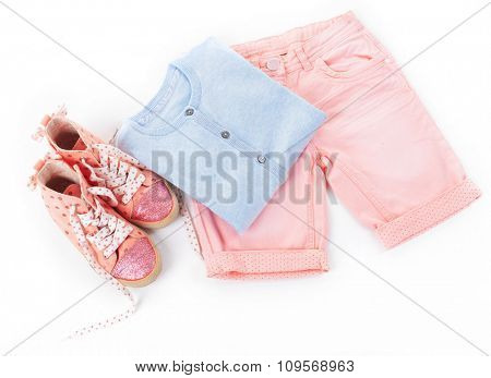Stylish casual clothes for girls, isolated on white