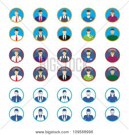 Male And Female Faces Icons, Avatars. Business People.