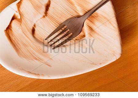 Closeup Of Dirty Saucer Plate.