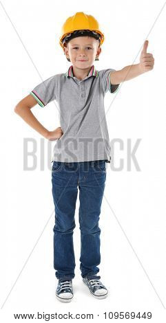 Little boy in yellow helmet isolated on white background