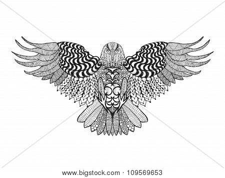 Zentangle stylized eagle.