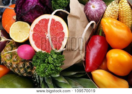 Fruits and vegetable closeup