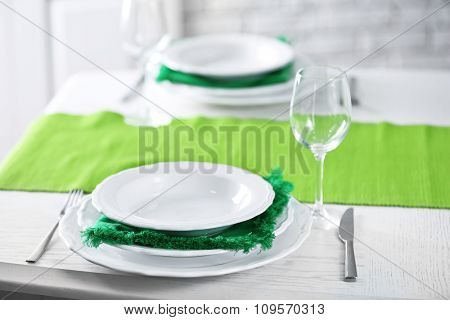 Table setting for St Patricks Day