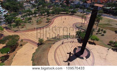 BELO HORIZONTE, BRAZIL - CIRCA OCTOBER 2015: Aerial view of Popes Square in Belo Horizonte, Minas Gerais, Brazil.