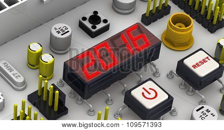 2016. The message on the display electronic circuit board