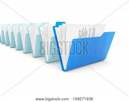 Blue Folder In A Row