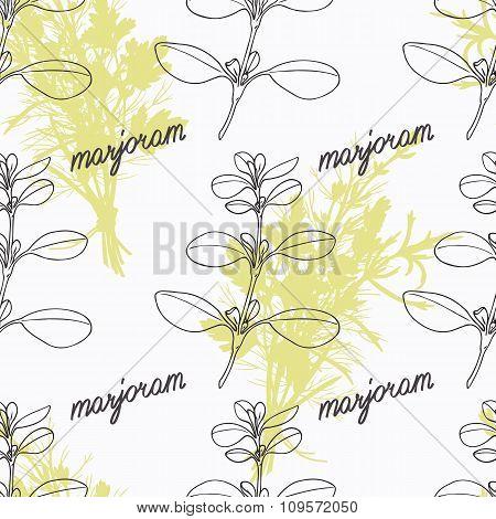 Hand drawn marjoram branch and handwritten sign. Spicy herbs seamless pattern. Doodle kitchen backgr