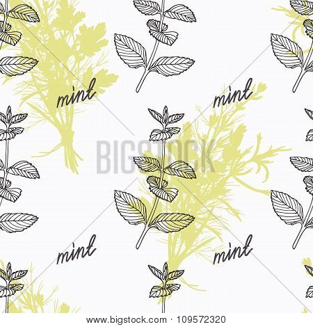 Hand drawn mint branch and handwritten sign. Spicy herbs seamless pattern. Doodle kitchen background