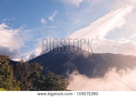 Tungurahua Volcano Sunset Explosion, Tree House