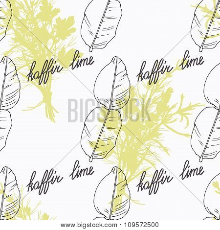 Hand drawn kaffir lime branch and handwritten sign. Spicy herbs seamless pattern. Doodle kitchen bac