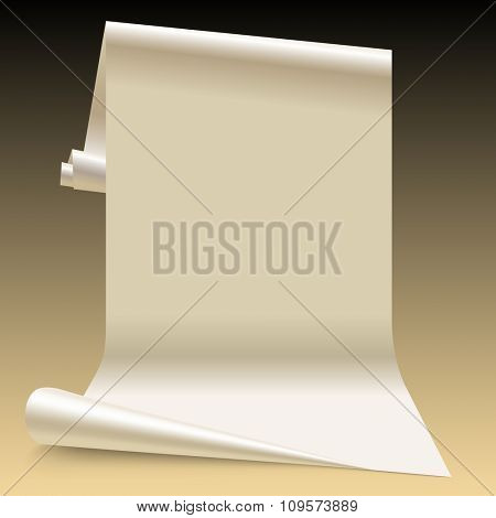 Three dimensional lit white paper sheet.  Wallpaper segment