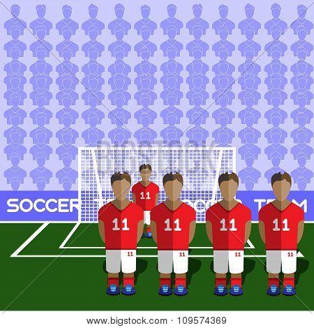 England Soccer Club On A Stadium