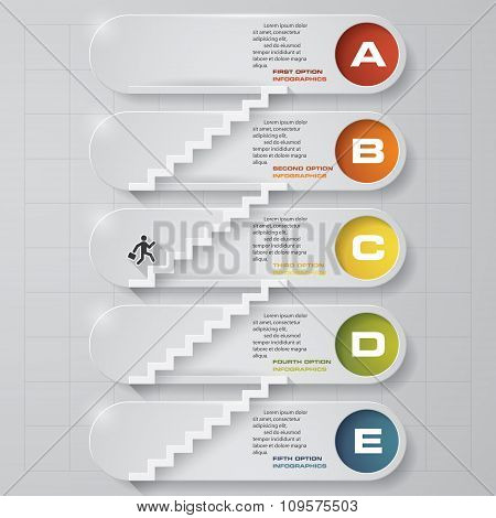 abstract business chart. 5 Steps from lower to upper steps. diagram template.