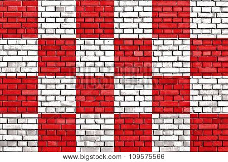 Flag Of North Brabant Painted On Brick Wall