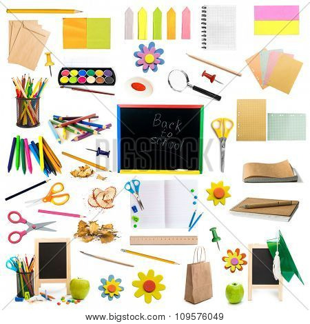 collage of different colorful childish stationery isolated on white background