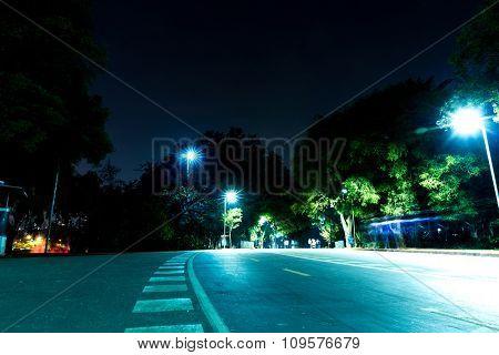 Ibiraquera Park at night in Sao Paulo, Brazil