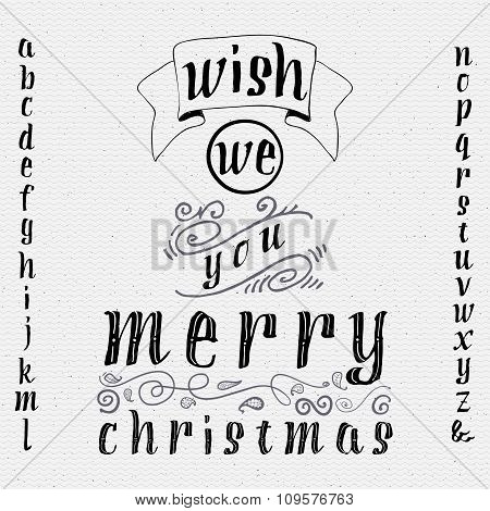 Wish we you merry christmas insignia  and labels for any use