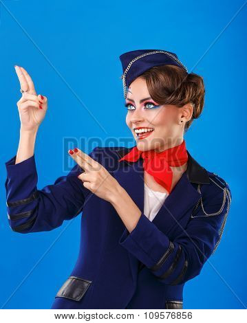 Stewardess With Face Art Shows Arms Up.