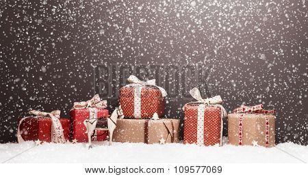 Christmas decoration with gifts snow