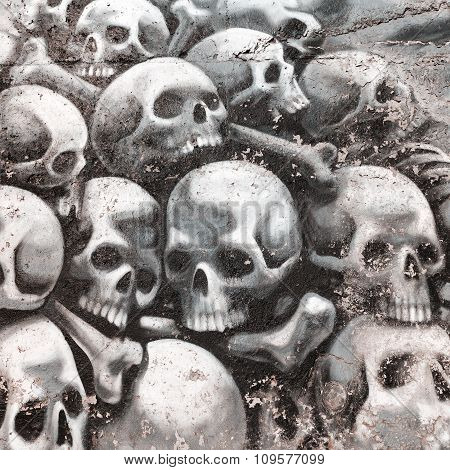 Varna - November 11: Detail Of Graffiti On The Wall Of A Pile Of Skulls And Bones. Grungy Concrete S