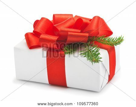 Christmas Wrapped Present With Red Satin Ribbon