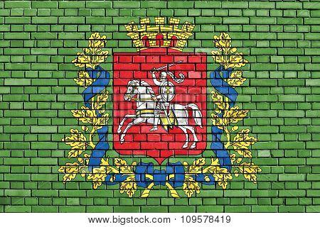 Flag Of Vitebsk Region Painted On Brick Wall