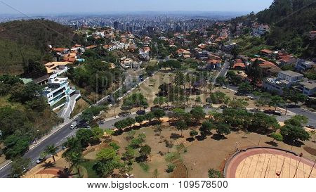 Aerial view from Popes Square to Belo Horizonte skyline, Minas Gerais, Brazil.