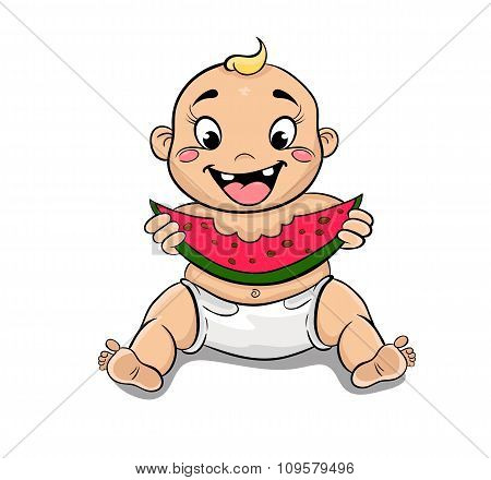 Happy Child With Watermelon In Hand